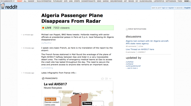 A reddit live thread in progress about the missing Air Algerie flight.