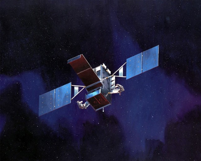 "An artist's rendering of the SBIRS ""High"" geosynchronous infrared surveillance satellite, one of the newer additions to the DOD's constellation of missile launch detection satellites."