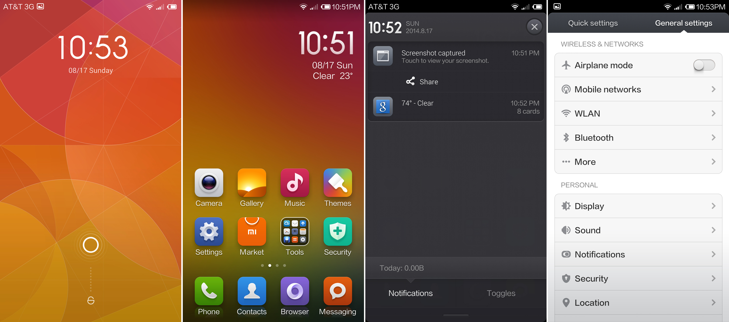 The MIUI lock screen, home screen, notification shade, and settings.