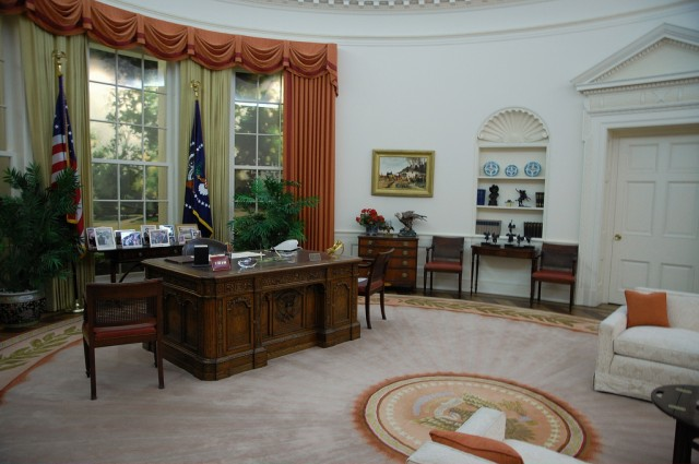 The Oval Office as it looked at the end of President Reagan's second term, as seen in the replica at the Ronald Reagan Presidential Library.