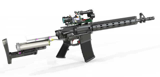 Cutaway diagram showing the AR-15 PGF's internals, including the buttstock-mounted dual batteries.