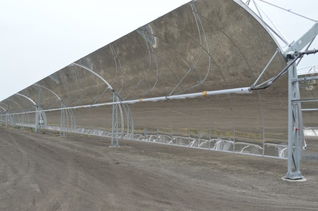 The mirrors are 16 feet tall, and two motors on either end of the rows move them to best capture the Sun's rays.