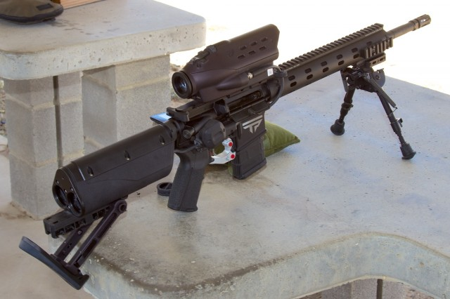 "A pre-production 5.56mm NATO AR-15 PGF. Note the silver trigger assembly and two red ""tag"" buttons. The final placement hasn't yet been decided upon."
