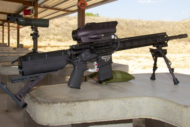 A near-production model of TrackingPoint's AR 556, the 5.56mm NATO precision guided firearm.