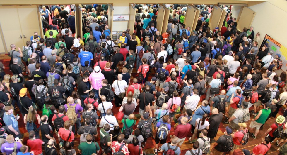 The crush as Gencon's main exhibition hall opens.