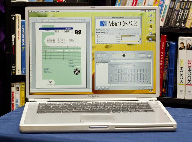 My weapon of choice: a 2002 titanium PowerBook G4.