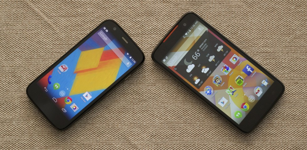 Kogan's Agora 4G (right) is like a larger version of the Moto G (left).