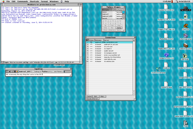 I could connect to our IRC server in Mac OS 9, and that was just about it.