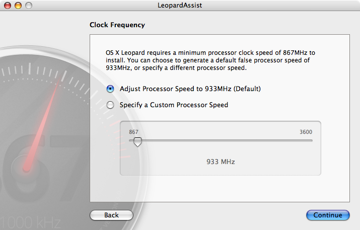 LeopardAssist runs in OS X 10.3 and 10.4, and it can be used to fool slower G4 systems into installing Leopard.