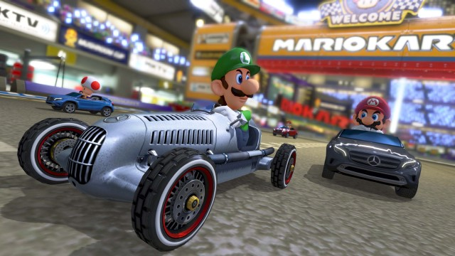 The Luigi death stare will soon find its way into a line of downloadable Mercedes-Benz cars, including the Silver Arrow and the GLA.