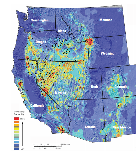 "From a paper titled ""Assessment of Moderate- and High-Temperature Geothermal Resources of the United States,"" this map shows ""the relative favorability of occurrence for geothermal resources in the western contiguous United States."" Black dots are geothermal systems that have already been identified."