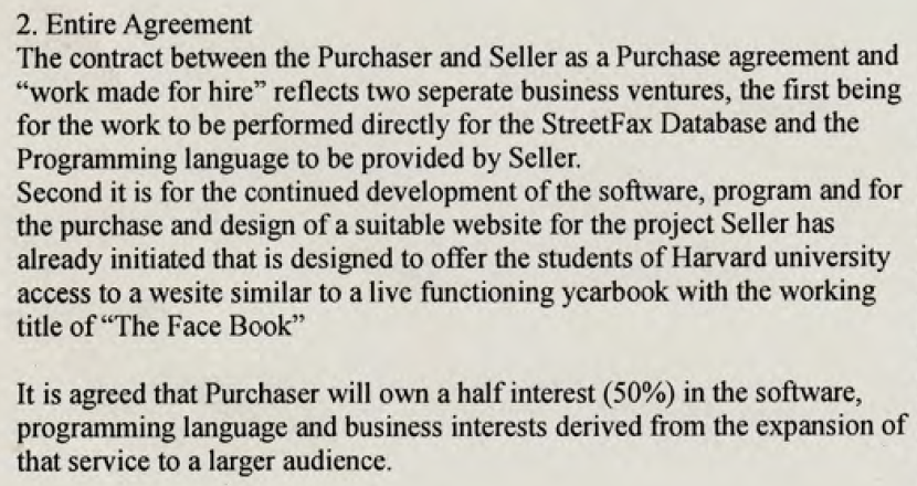 Federal prosecutors say this paragraph from an April 28, 2003 contract between Ceglia and Zuckerberg is a hoax.