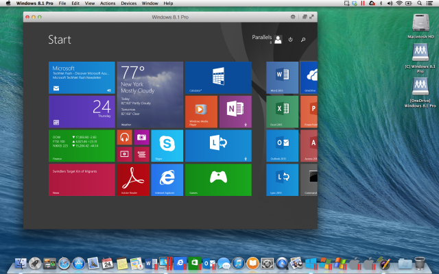 Windows 8.1 running on Parallels Desktop for Mac.