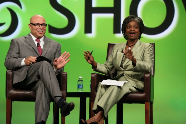 Former FCC Chairman and current NCTA CEO Michael Powell (left) with FCC Commissioner Mignon Clyburn.