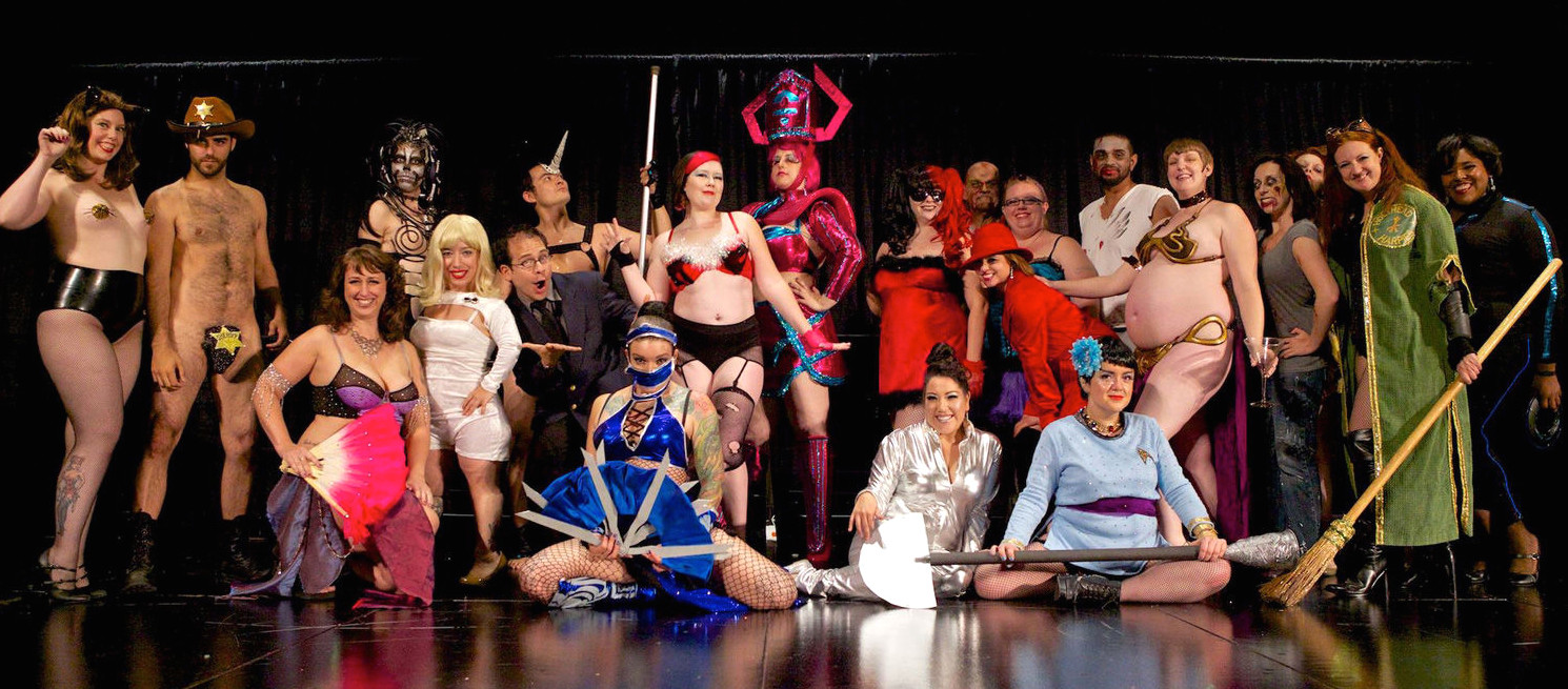 Photos of the 2014 show weren't allowed, but this 2013 Glitter Guild cast shot gives you a pretty good idea of what went down.