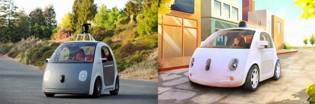 Left: Google's prototype car. Right: the eventual final design.