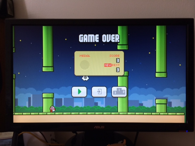 Ars Culture Editor Casey Johnston fills her TV screen with <i>Flappy Bird</i>... and quickly fails.