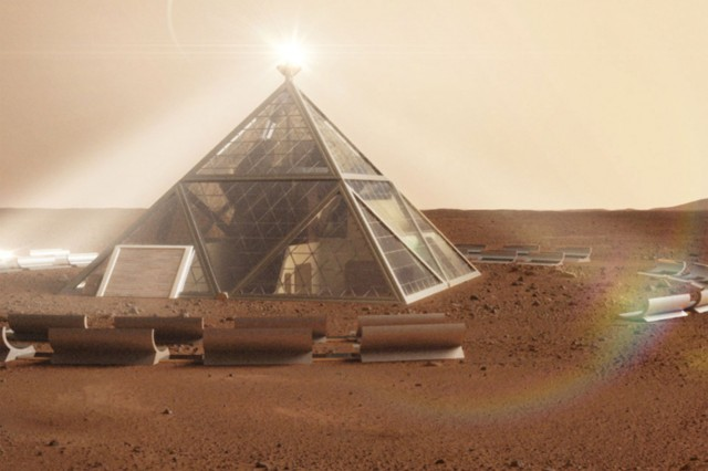 A rendering of the Martian Pyramid entry.