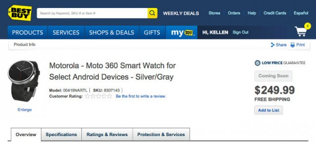 Best Buy listing pegs the Moto 360 at $249, reveals spec sheet