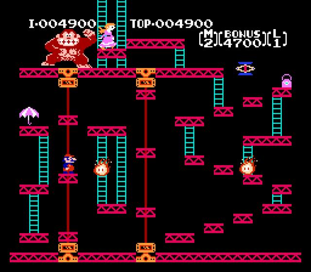 <b>NES Launch: <em>Donkey Kong</em> (1983)</b>  This port of the arcade original, one of three titles to launch alongside the Famicom in 1983, was far from a perfect recreation, but it still represented a huge leap from the competing versions on systems from Atari and Coleco.