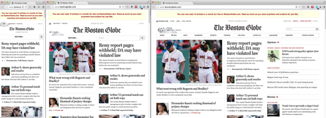 <em>The Boston Globe</em> website at phone, tablet, and desktop sizes.