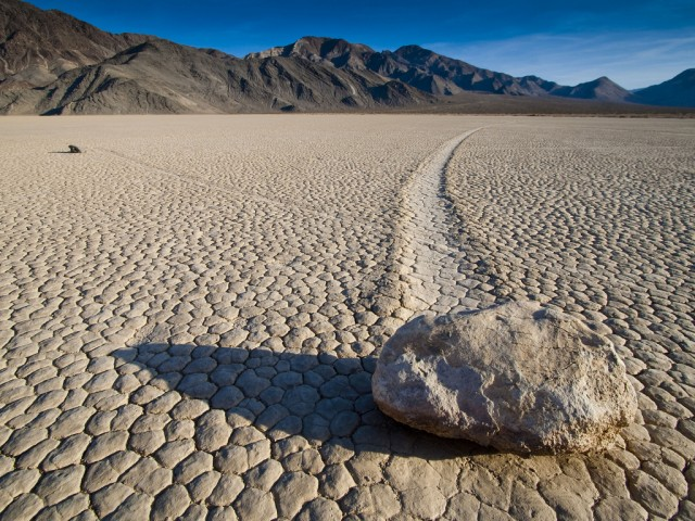 Death Valley's famous moving stones, caught in the act