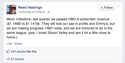 Reed Hastings' Facebook update boasting about Netflix's (possibly temporary) victory over its unwilling adversary.