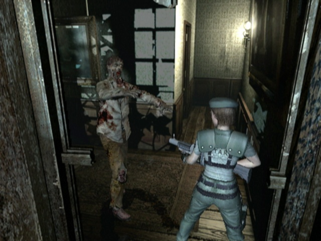 A scene from the 2002 GameCube version of <i>Resident Evil</i>.