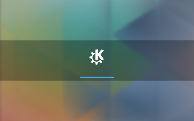 KDE Plasma 5's new boot screen.