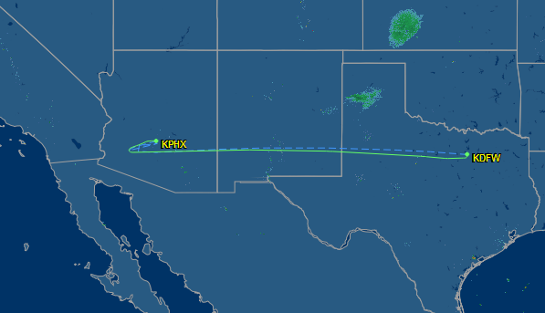 The diverted flight path of American Airlines flight #362, which was redirected from San Diego to Phoenix yesterday.