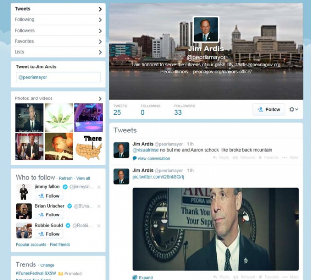 "Arrest over Twitter parody of mayor wasn't ""unreasonable,"" Peoria says"