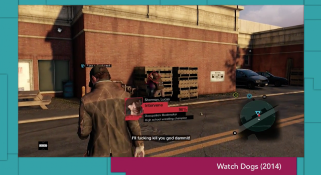 "A screenshot of a domestic abuse scene from <em>Watch Dogs</em> used as an example in Anita Sarkeesian's ""Women vs. Tropes in Video Games"" series."