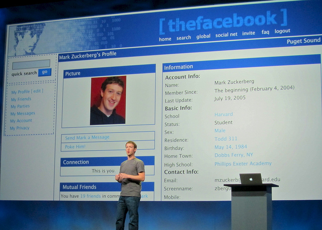 "Mark Zuckerberg in front of his original ""The Facebook"" profile."