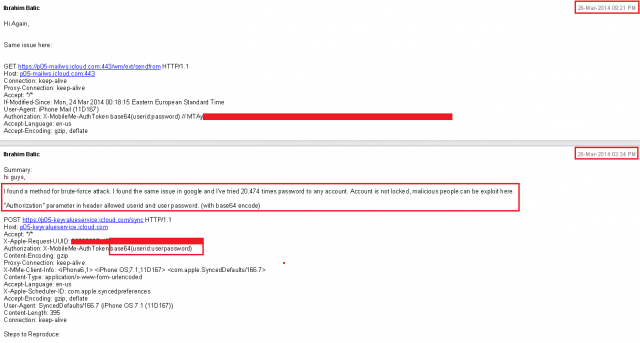 The bug report filed by Ibrahim Balic on the brute-force attack method on iCloud.