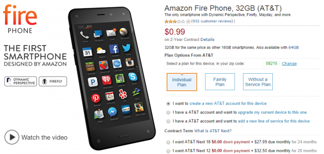 Amazon's Fire Phone falls to 99 cents on a two-year contract