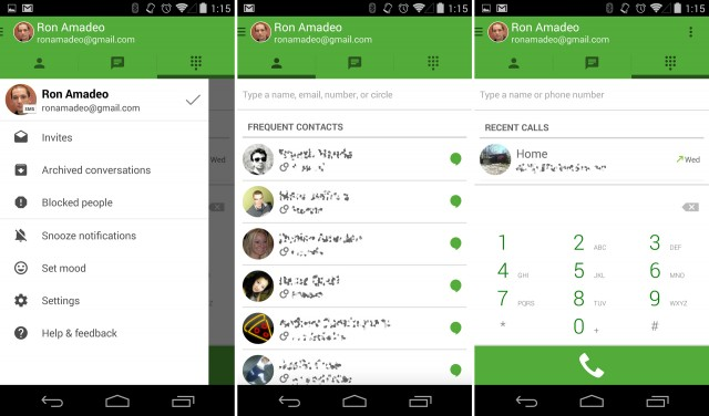 The new Android version of Hangouts is very green.