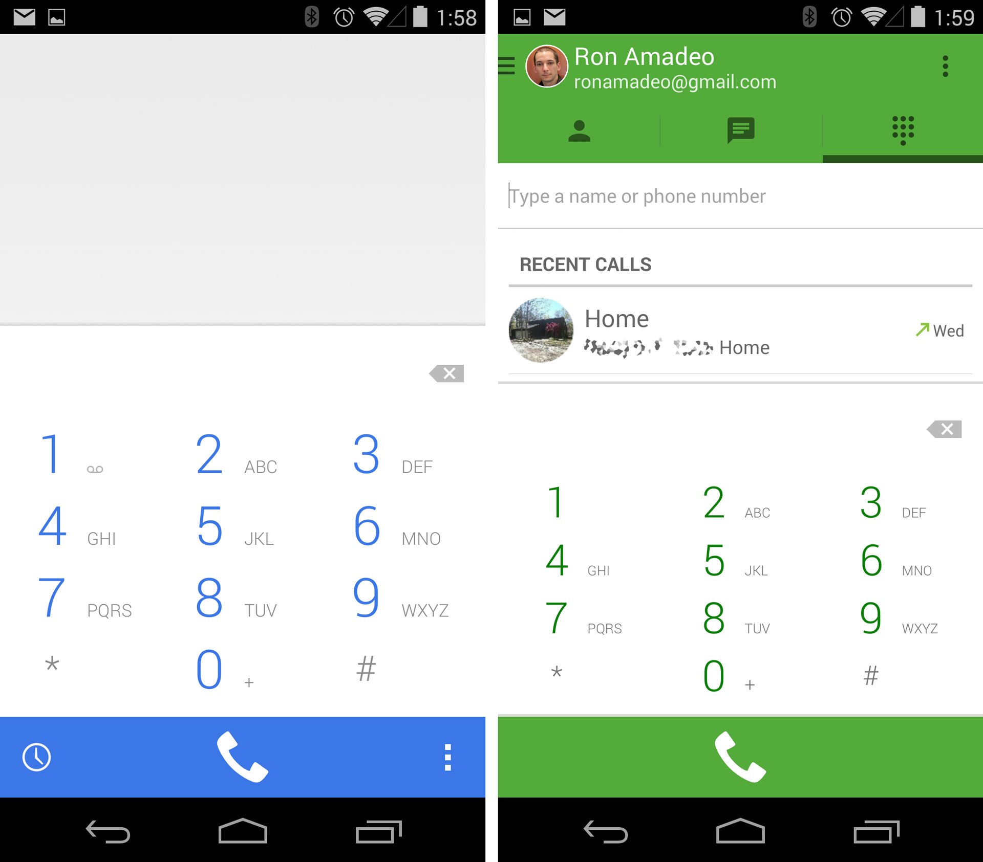 Google Dialer and Hangouts Dialer.