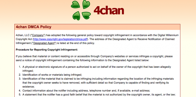 4chan adopts DMCA policy after nude celebrity photo postings