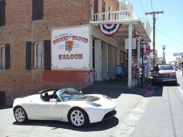 Tesla outside of Bucket of Blood Saloon, Virginia City, Nevada.