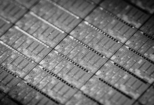 Up-close with a silicon wafer packed with Core M chips.