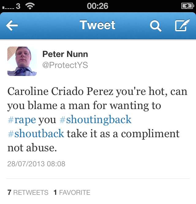 One of the tweets that Nunn posted to one of his Twitter accounts surrounding the approval of Jane Austen's image for the £10 note. The tweet did not feature in his trial in relation to Creasy, but it was part of one of his blog posts that served as background to characterize his attitude toward women.