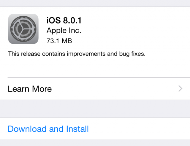 iOS 8.0.1 fixes a handful of bugs with the new update.