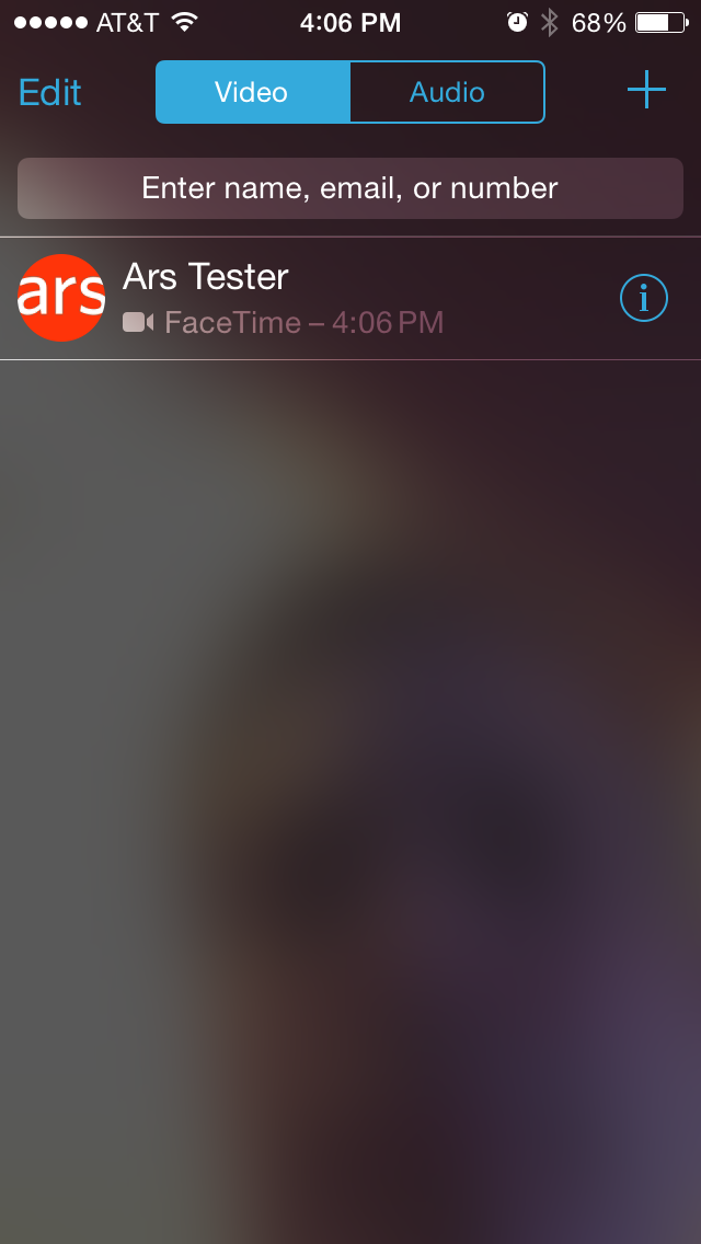 The new FaceTime interface has been streamlined and now separates audio and video calls.