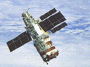 Salyut 7 as seen from the approaching Soyuz T-13 crew. Notice how the solar panels are slightly askew.