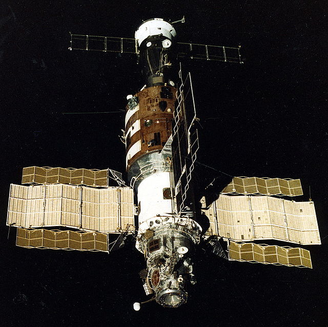 The view of Salyut 7 from Soyuz T-13 after undocking and beginning the journey home.