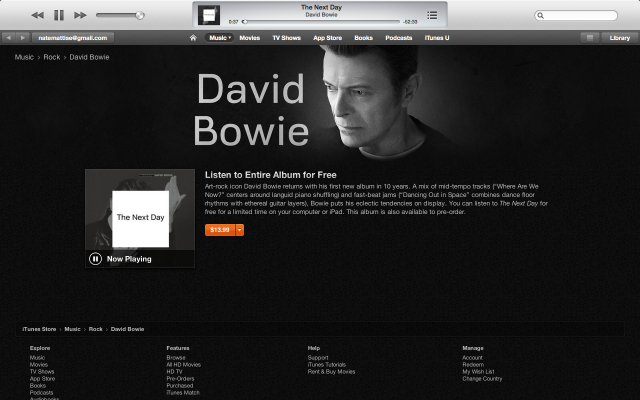 If anyone needed an Apple-bump, surely it was legend David Bowie releasing his first album in 10 years. O_O