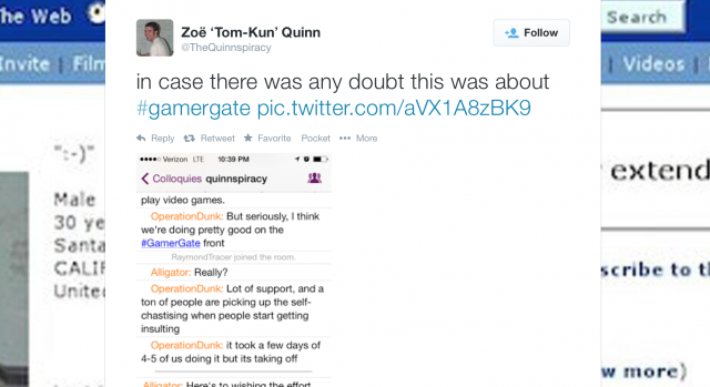 One of the IRC log screenshots tweeted by Zoe Quinn.