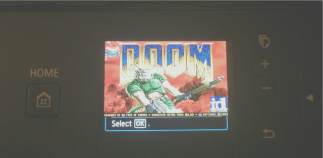 <em>Doom</em> on a printer's menu screen! Personally, we can't wait until someone makes <em>Descent</em> playable on a toaster.