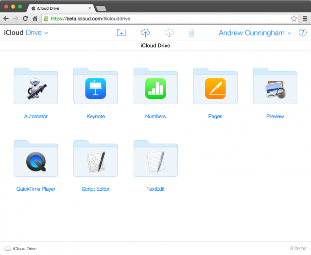 iCloud Drive, accessed through iCloud.com. The interface will be similar no matter which platform you access it from.