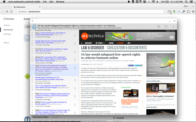 "The Android app ""Reddit is Fun"" running on Mac OS."